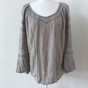 Free People gray beaded and embroidered top